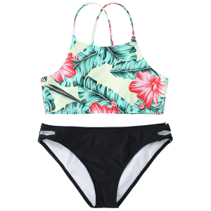 High Neck Leaf Print Bathing Suit -