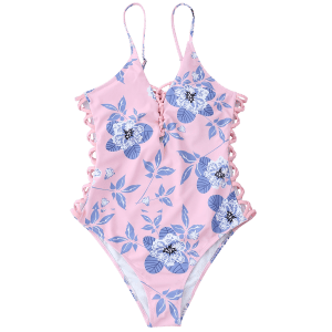 Lace Up Floral High Cut Swimwear -