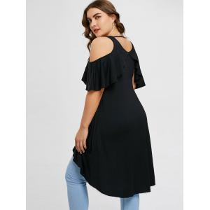 Plus Size Overlay Cold Shoulder Tunic T-shirt -