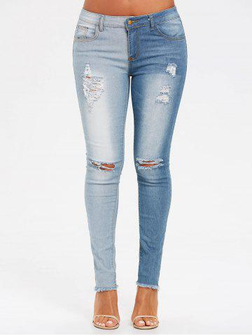 Online Two Tones Raw Edge Ripped Jeans