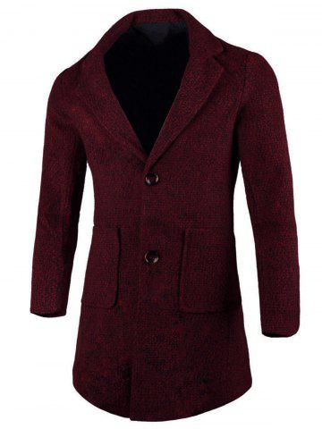 Lapel Two Button Wool Blend Coat