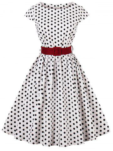 Discount Plus Size Belted Polka Dot Dress