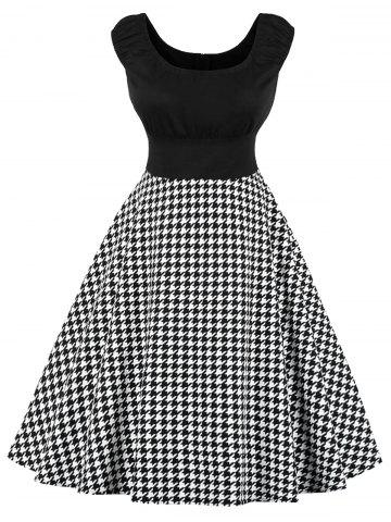 Cheap Plus Size Cap Sleeve Houndstooth Print Dress