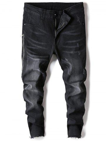 Zip Insert Ankle Frayed Trim Straight Jeans