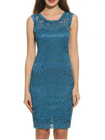 Outfit Sleeveless Floral Print Bodycon Lace Dress