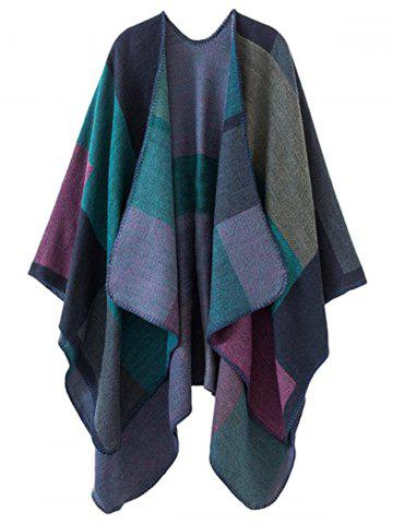 Sale Color Block Collarless Plus Size Poncho