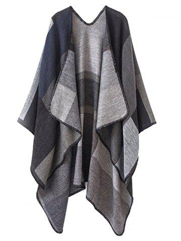 Outfits Color Block Collarless Plus Size Poncho
