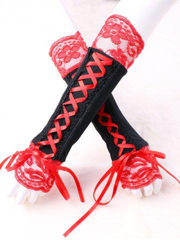 Outfit Lace Up Two Tone Fingerless Arm Warmer