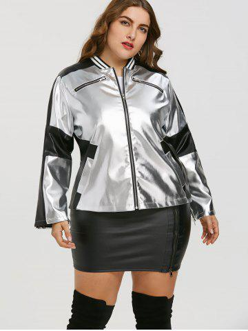 Faux Leather Panel Zipper Plus Size Jacket