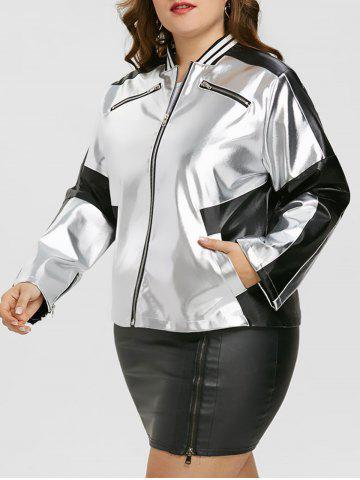New Faux Leather Panel Zipper Plus Size Jacket