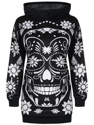 Fancy Plus Size Skull Floral Tunic Hoodie