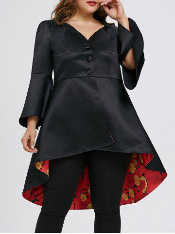 Discount High Low Lace Up Plus Size Skirted Coat