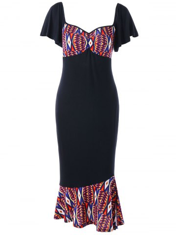 New Plus Size Printed Bodycon Fishtail Dress