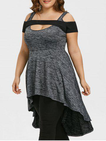Affordable Plus Size High Low Open Shoulder Cut Out Tee