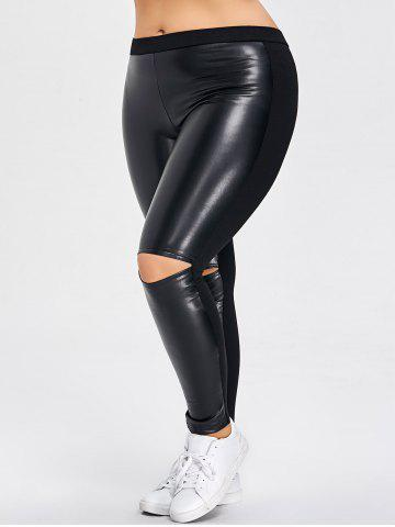 Discount PU Leather Panel Ripped Plus Size Pants