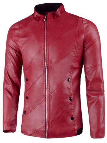 Flap Button Embellished Stand Collar Faux Leather Jacket