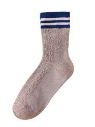 Simple Striped Pattern Color Splice Crew Socks -