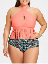Ensemble Bikini à Franges Motif Floral Grande-Taille - Orange 3XL
