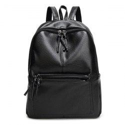 Faux Leather Side Pockets Zip Backpack -