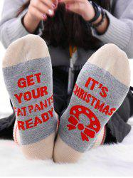 Pair Of Contrast Letter Graphic Socks -