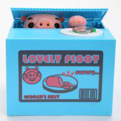Pig Shape Automatic Electric Stole Coin Money Box - Blue