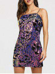 Spaghetti Strap Sequined Mini Dress -