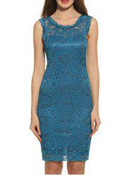 Sleeveless Floral Print Bodycon Lace Dress -