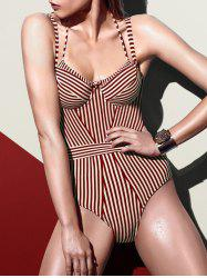 Spaghetti Strap Striped Swimsuit -
