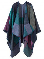 Color Block Collarless Plus Size Poncho -