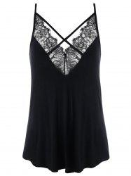 Plus Size Lace Panel Criss Cross Tank Top -