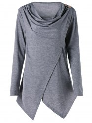 Plus Size Cowl Neck Asymmetric Wrap T-shirt -