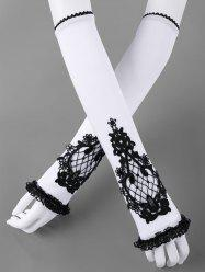 Two Tone Lace Trim Fingerless Arm Sleeves -