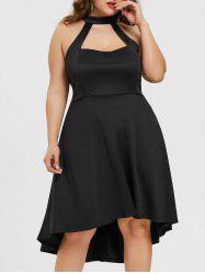 Cut Out High Low Plus Size Formal Dress -