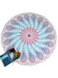 Feather Pattern Round Beach Throw -