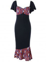 Plus Size Printed Bodycon Fishtail Dress -