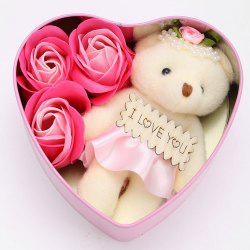 3PCS Soap Roses and 1PC Bear in a Iron Box Valentine's Day Love Gift -