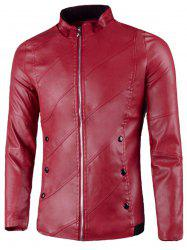 Flap Button Embellished Stand Collar Faux Leather Jacket -