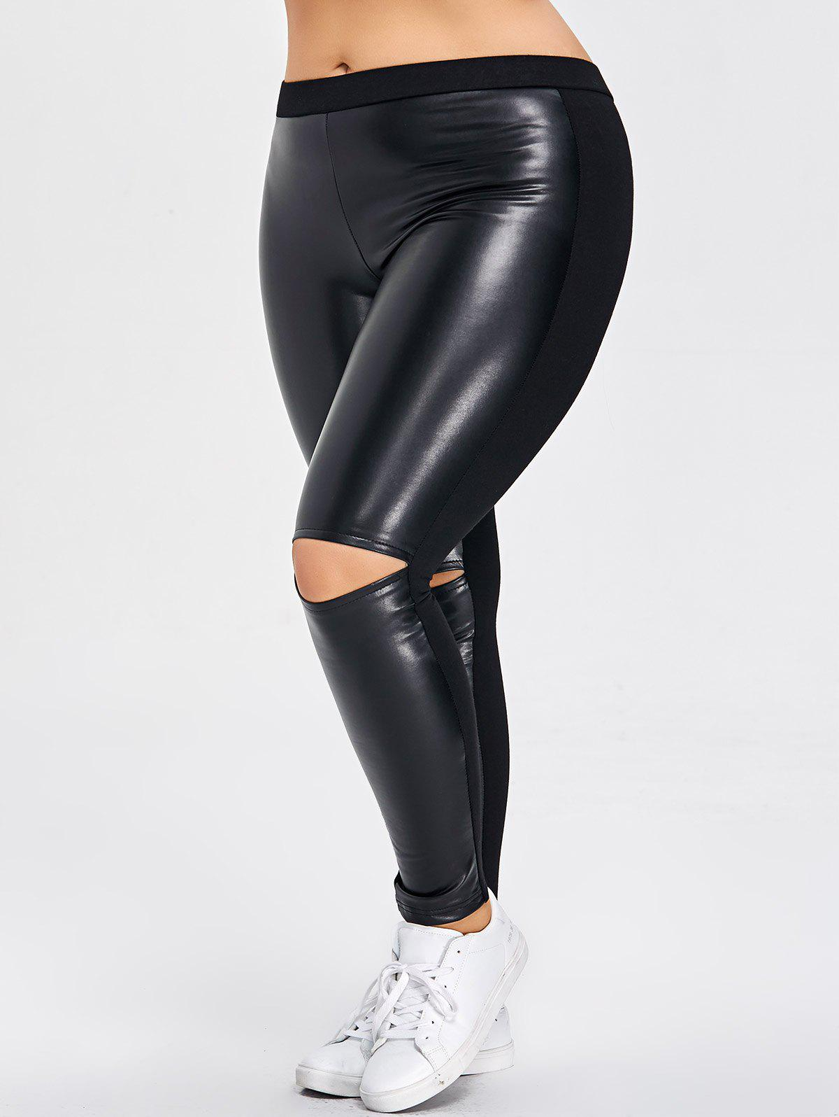 Buy PU Leather Panel Ripped Plus Size Pants