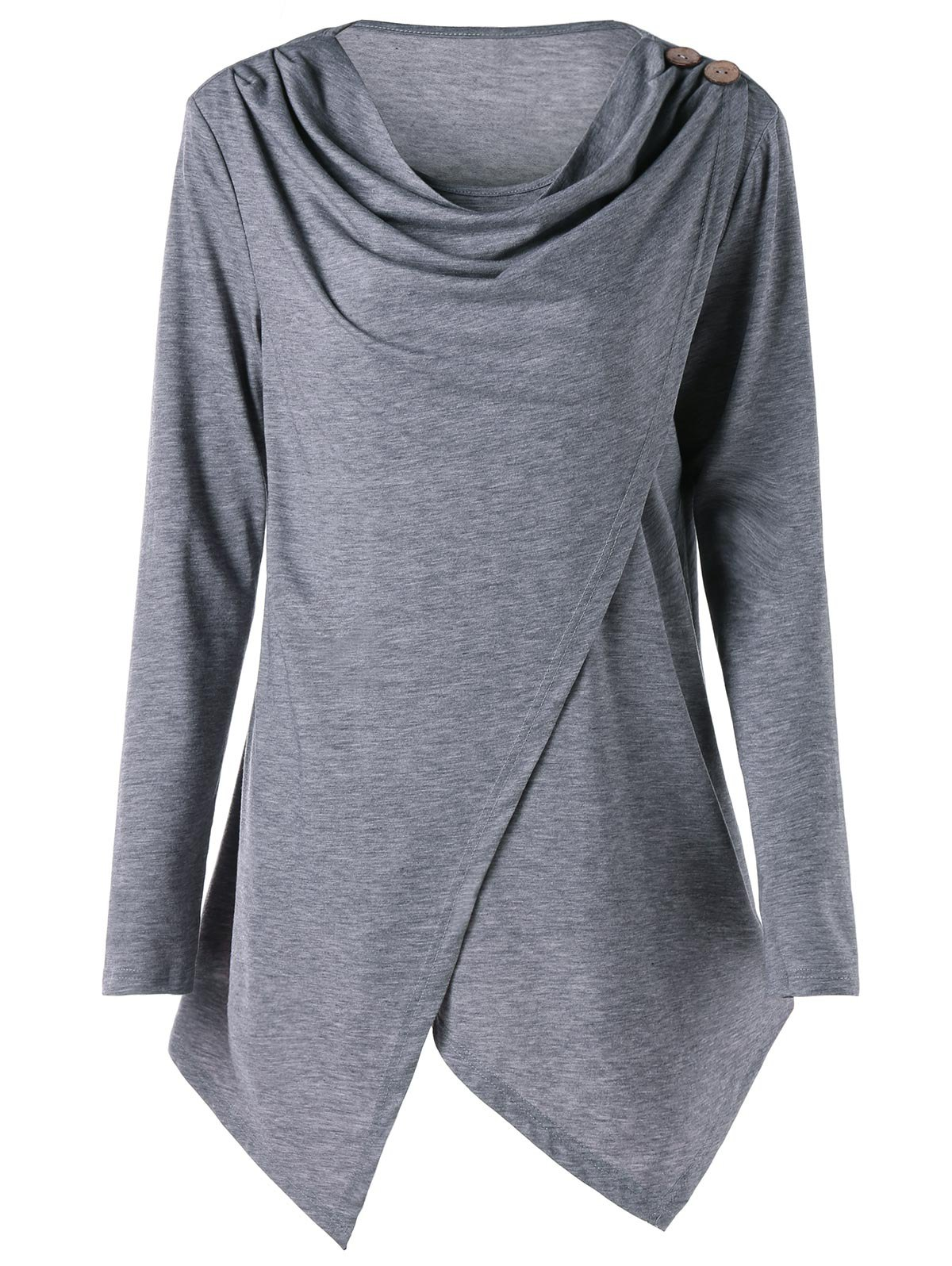 Shops Plus Size Cowl Neck Asymmetric Wrap T-shirt