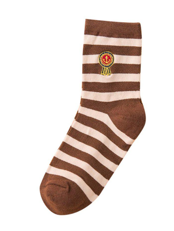 Fancy Funny Medal Embroidery Embellished Cotton Crew Socks