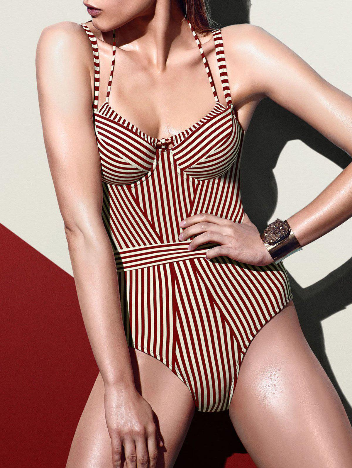 Online Spaghetti Strap Striped Swimsuit