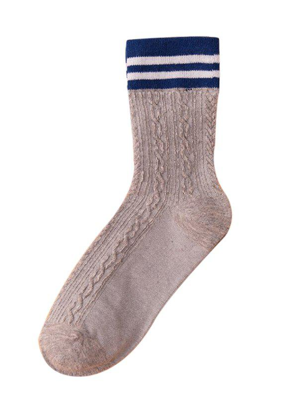 Latest Simple Striped Pattern Color Splice Crew Socks