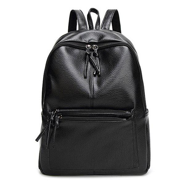 Shop Faux Leather Side Pockets Zip Backpack