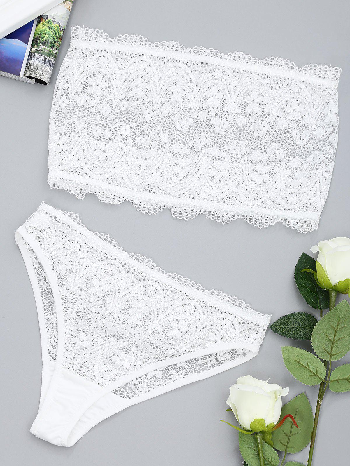 Fancy Lace Sheer Tube and Thong Set