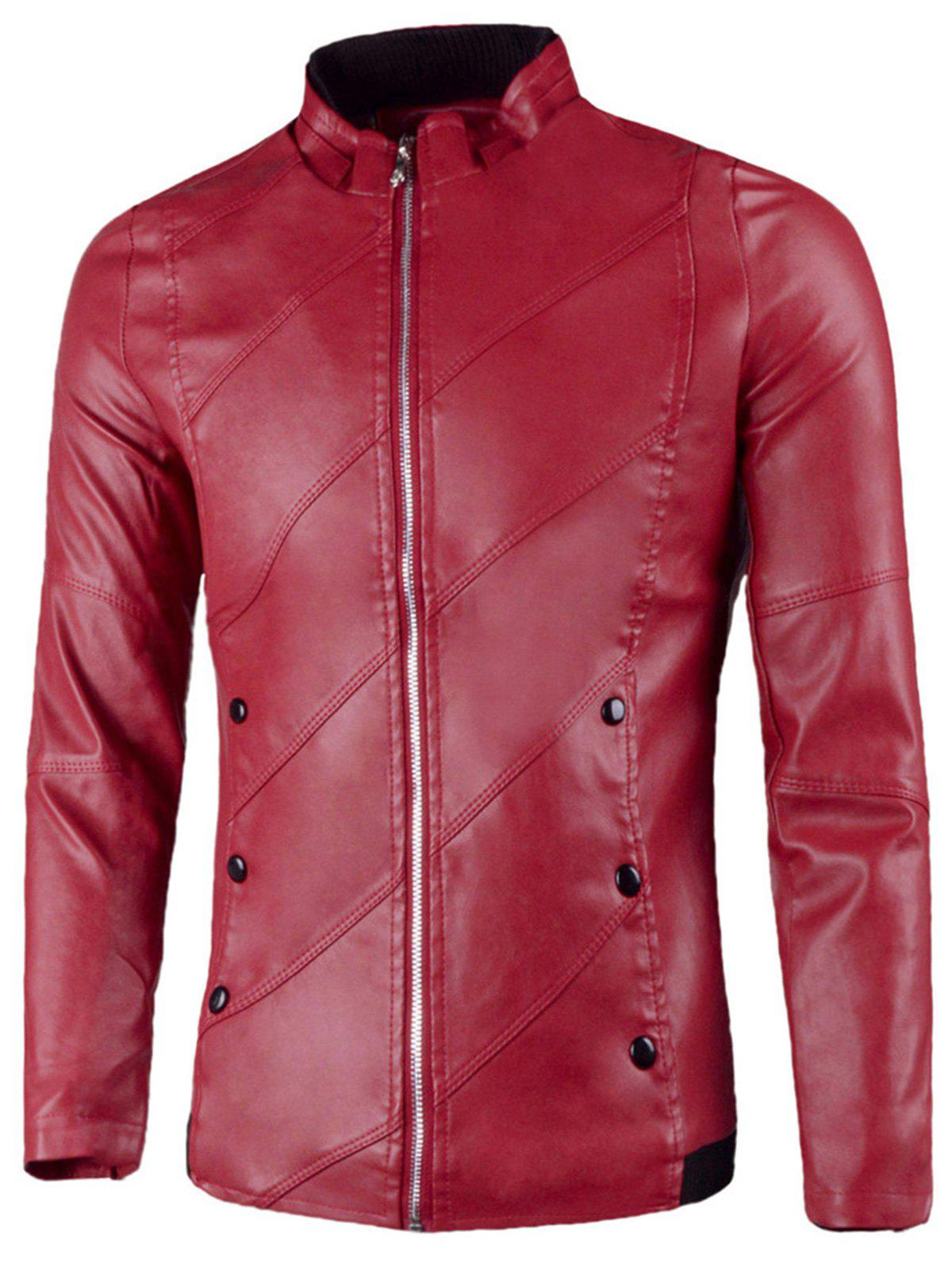 Buy Flap Button Embellished Stand Collar Faux Leather Jacket