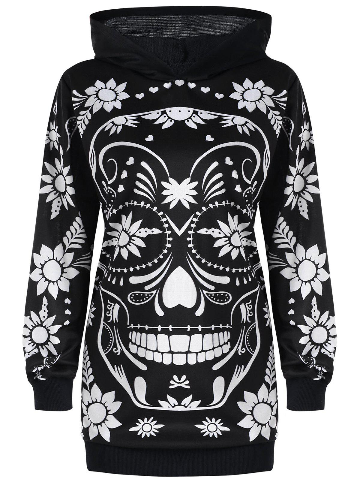 Trendy Plus Size Skull Floral Tunic Hoodie