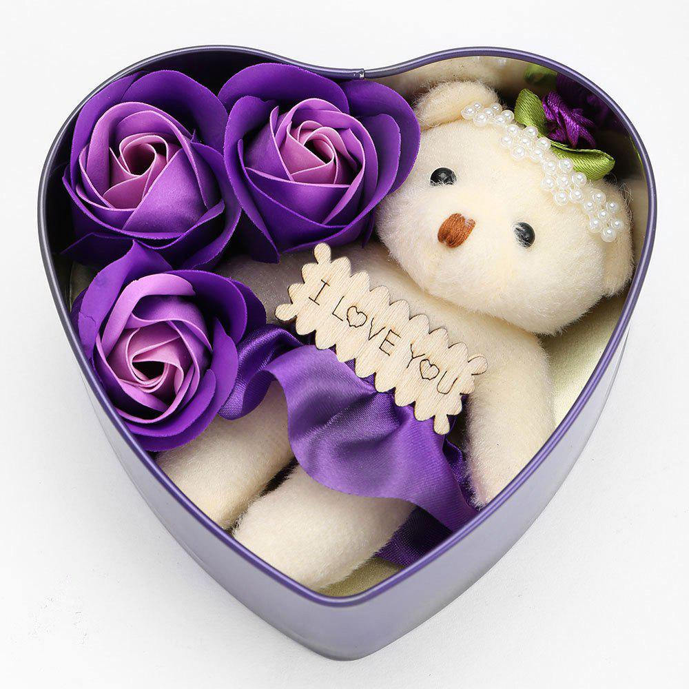 Shops 3PCS Soap Roses and 1PC Bear in a Iron Box Valentine's Day Gift