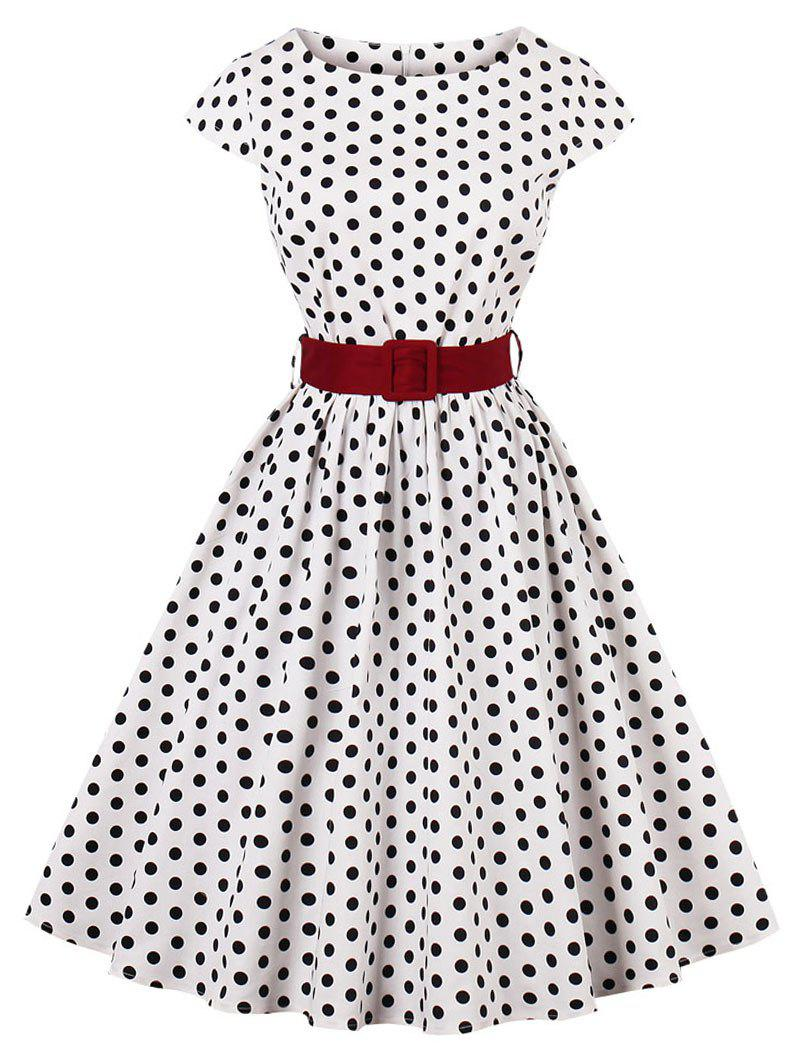 Mid-Night Blue /& White Polka dot/'s off the shoulder Sweet-heart 50/'s pinup top