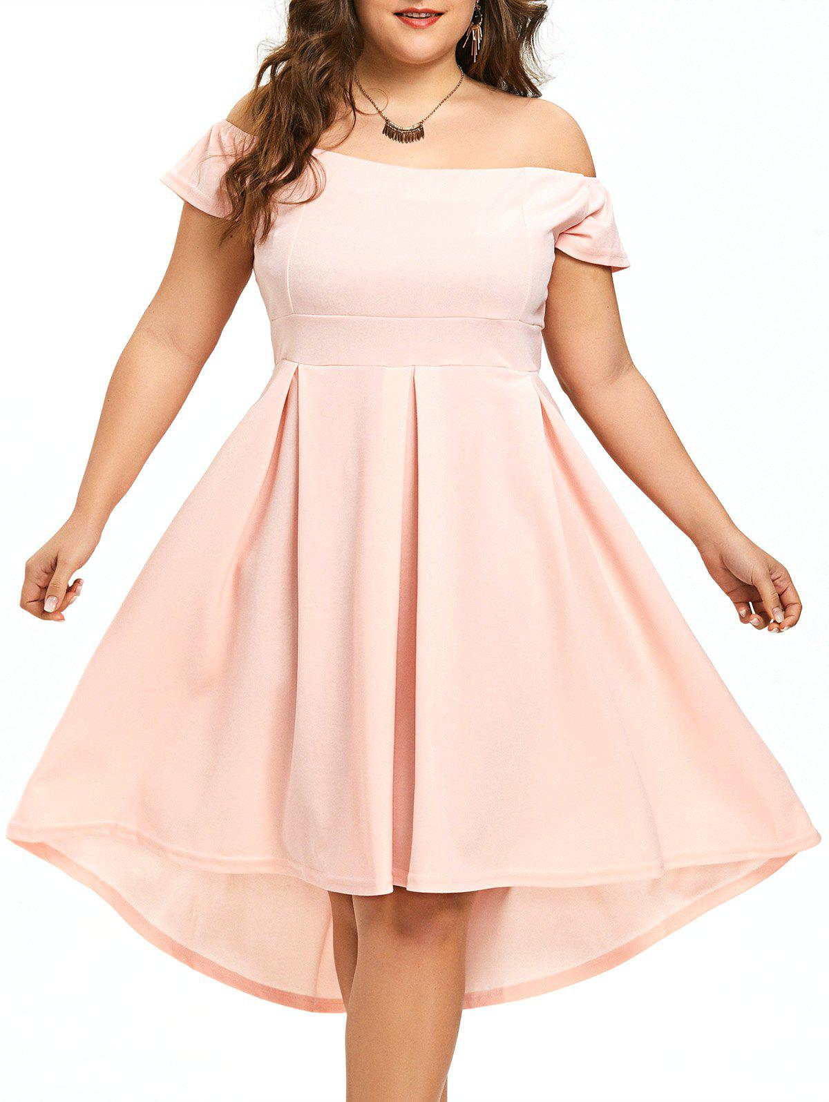 Store Plus Size High Low Off The Shoulder Dress