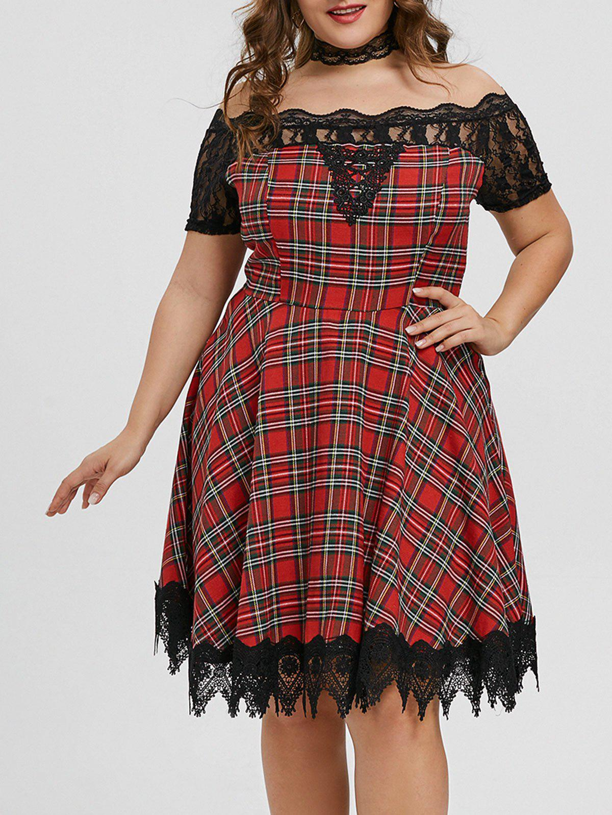 Shops Plaid Lace Insert Scalloped Plus Size Dress